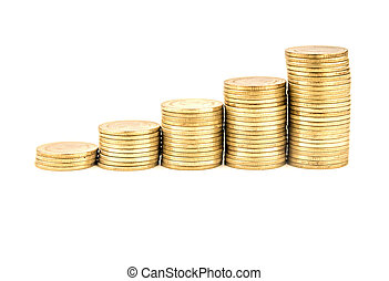 Coin stacks on a white background