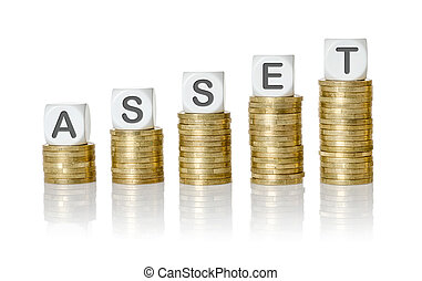 Coin stacks with letter dice - Asset