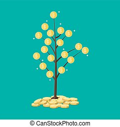 coin tree. Concept of savings