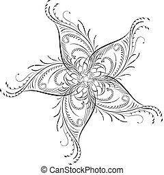 coin, vecteur, fleur, conception, élément