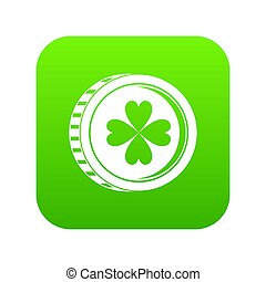 Coin with clover sign icon digital green