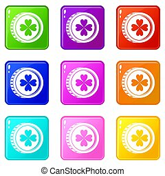 Coin with clover sign icons 9 set