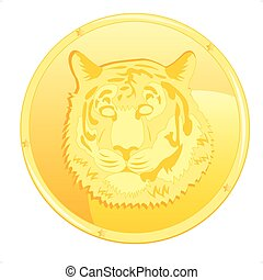 Coin with scene of the tiger