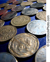 Coinage - Beautiful Indian coins on blue cloth