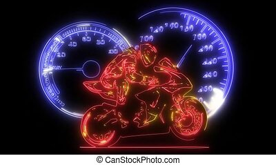 coincer, animation, laser, motocyclette, course