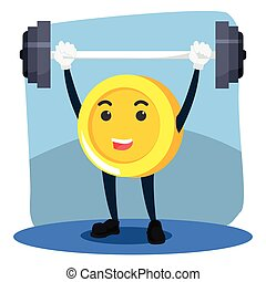 coinman lifting dumbell illustration design