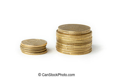 Coins 2 - Two columns of coins isolated on white