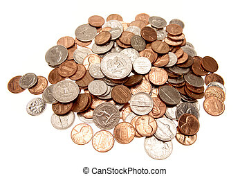 Coins - American coins on plain background