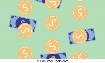 coins and bills cash money rain animation