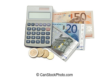 Coins and cash with pocket calculator on a white background