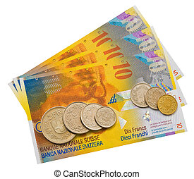 Coins and colorful bills of Switzerland.