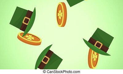 Coins and elf hats falling HD animation - Coins and elf hats...