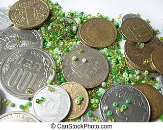 Coins and green beads