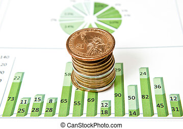 Coins and green chart