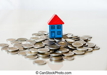 coins and house standing on it
