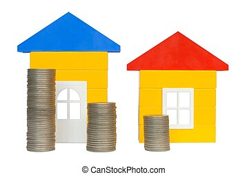 Coins and Houses - Isolated coins and houses