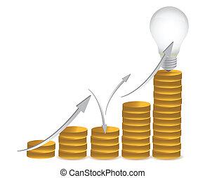 coins and lightbulb illustration design over white