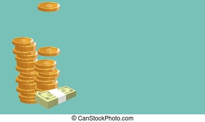 Coins and money HD animation