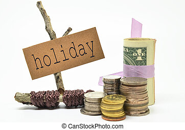 Coins and money with holiday label