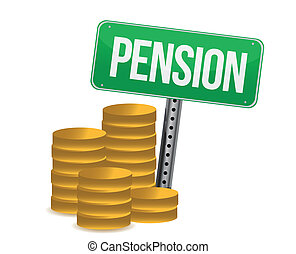 Coins and pension sign illustration design over white