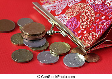 Coins and purse