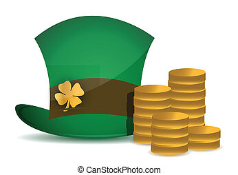 coins and saint patricks hat