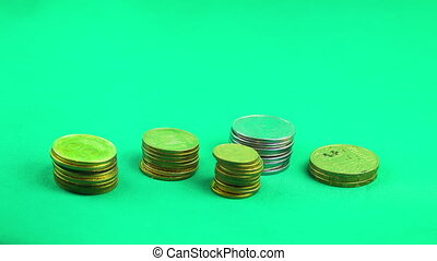 Coins fall one by one by increasing pile up. Animated rising stack of coins. 4K. Time Lapse