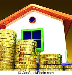 Coins Around House Shows Home Savings