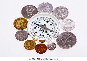 coins around the compass