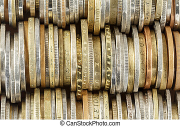 Coins arranged in rows, forms the background