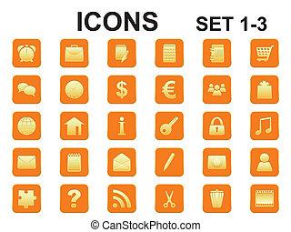 coins, arrondi, icônes