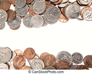 Assorted American coins on plain background