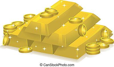 coins, barra, oro