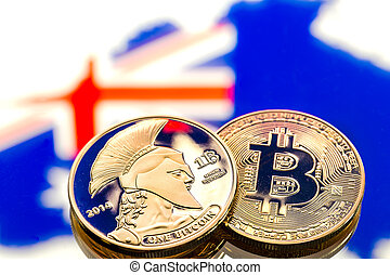 coins Bitcoin, against the background of Australia and the Australian flag, concept of virtual money, close-up. Conceptual image.