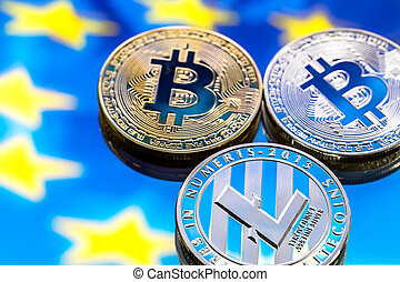coins Bitcoin and litecoin, against the background of Europe and the European flag, the concept of virtual money, close-up.
