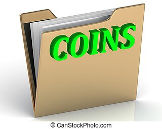 COINS - bright green letters on a folder
