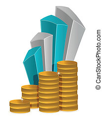 coins business graph illustration