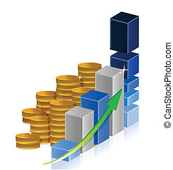 Coins business Graphic of success concept