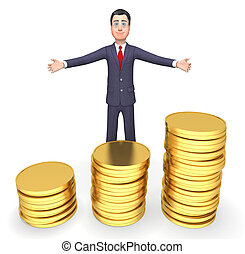 Coins Businessman Means Cash Investment And Entrepreneurial 3d Rendering