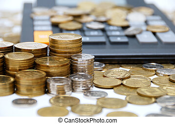 Coins & calculator - Calculator and different coins - ...