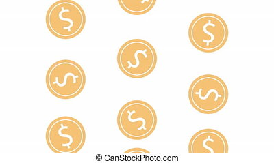 coins cash money rain animation