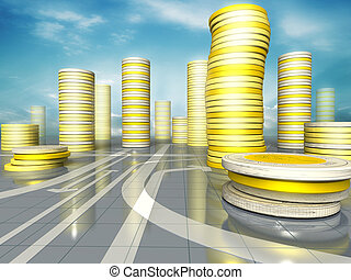business concept of skyscrapers city made up of coins