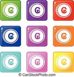 Coins cruzeiro icons 9 set