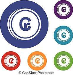 Coins cruzeiro icons set