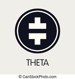 coins, -, crypto, emblem., theta, theta., o, mercado, icono