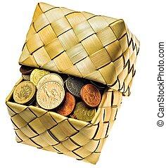 coins, de, el, diferente, países, es, en, un, wattled, caja
