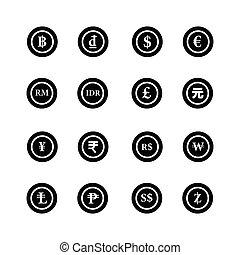 coins, de, el mundo, iconos, conjunto