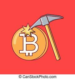 coins, diseño, bitcoin