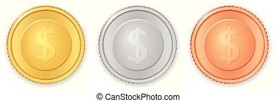 Coins dollar symbol - Coins with dollar symbol on a white...