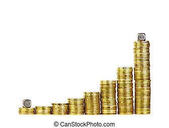 coins, dorado, hecho, empresa / negocio, aislado, gráfico, aumento, comprar, venda, corta en dados, palabras, exposiciones